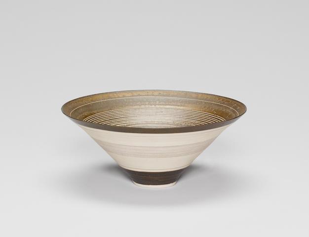 Lucie Rie (Austrian/British, 1902-1995) a conical Bowl, circa 1968 Diameter 21.2cm (8 3/8in.)
