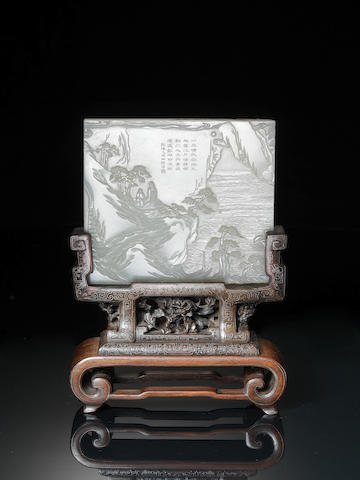A fine white jade Imperial inscribed jade screen Qianlong