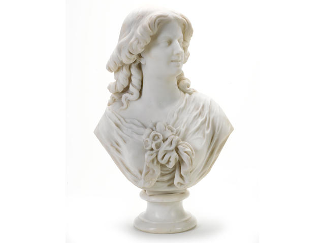 Jean-Baptiste Clesinger (French, 1814-1883) : A carved white marble bust of a young woman