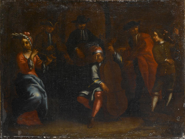 a pair of courtesy meeting, neapolitan school, cm 54x43,5 with frame