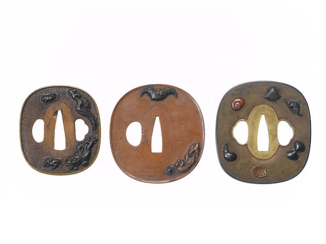 Five copper and brass tsuba Edo Period