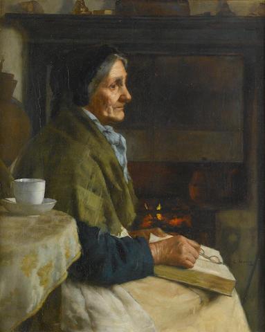 Edwin Harris, RBSA (British, 1855-1906) By the fireside