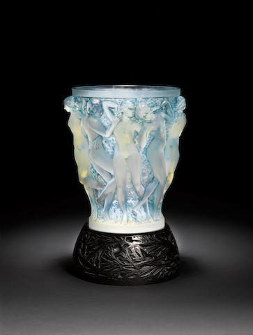 René Lalique 'Bacchantes' an impressive opalescent and stained glass vase with original metal stand, design 1927