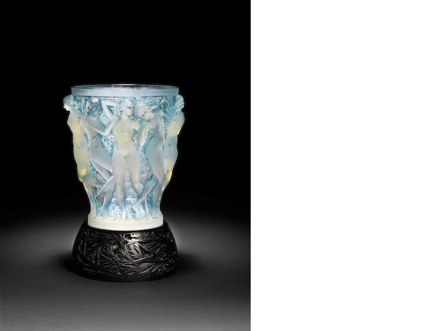 René Lalique  'Bacchantes' an impressive opalescent and stained glass vase with original metal stand