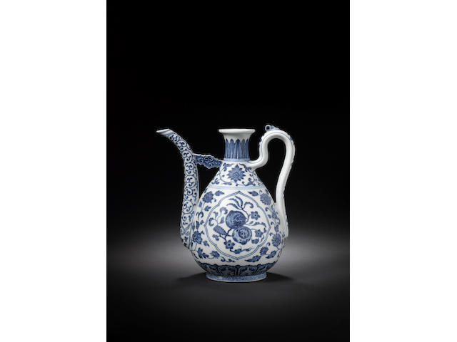 A fine and rare blue and white pear-shaped ewer Qianlong seal mark and of the period