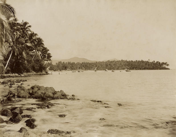 SAMOA  View of the Harbour at Apia by Davis, 1870s-1880s