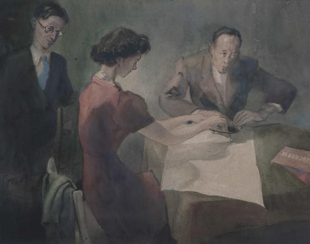 Frederick Sands ( Jersey, 1916-1992) 'La Planchette', 37.5 x 48cm.