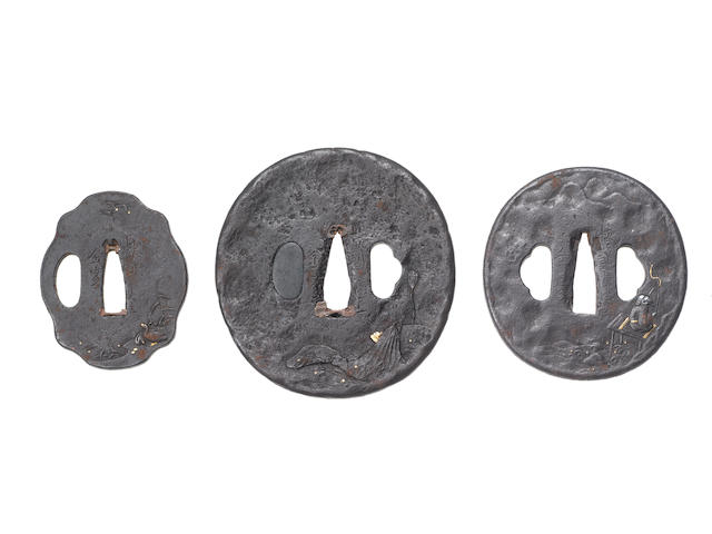 Twelve iron tsuba Early to mid Edo Period