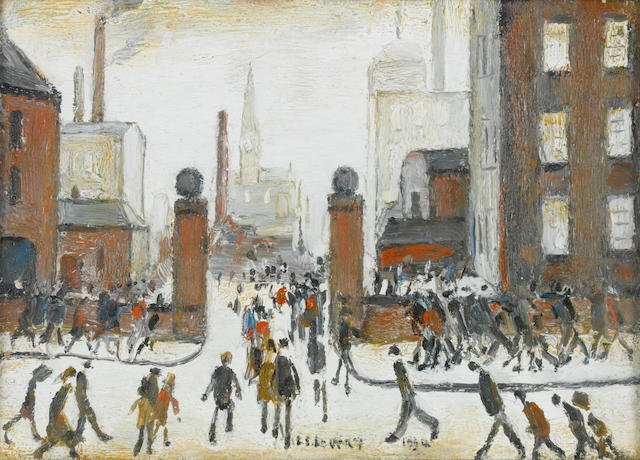 Laurence Stephen Lowry, R.A. (British, 1887-1976) A Mill Scene, Wigan 14 x 20 cm. (5 1/2 x 8 in.)