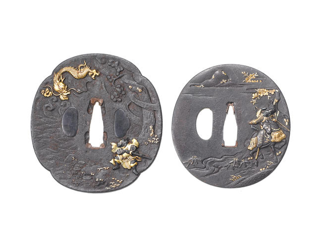 Three Mito iron tsuba Edo Period