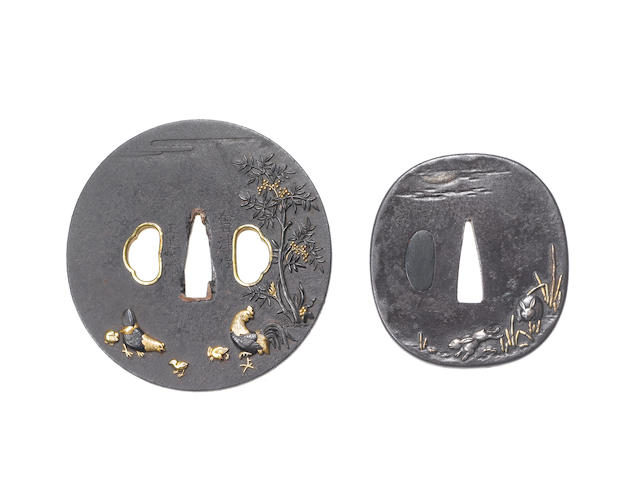 Three iron kinko tsuba Edo Period