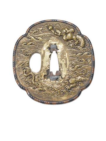 A ko-kinko copper and gilt tsuba Momoyama Period