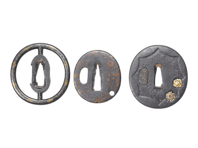 Four inlaid iron tsuba Early to mid Edo Period