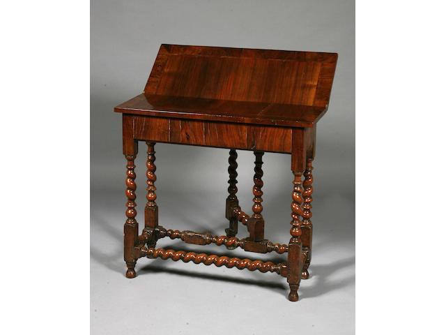 A Charles II Walnut folding writing table