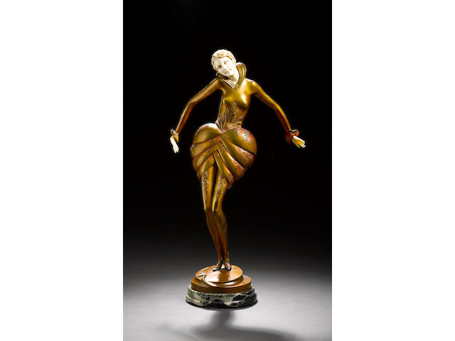 Paul Philippe a rare patinated and cold-painted bronze and carved ivory figure, circa 1925