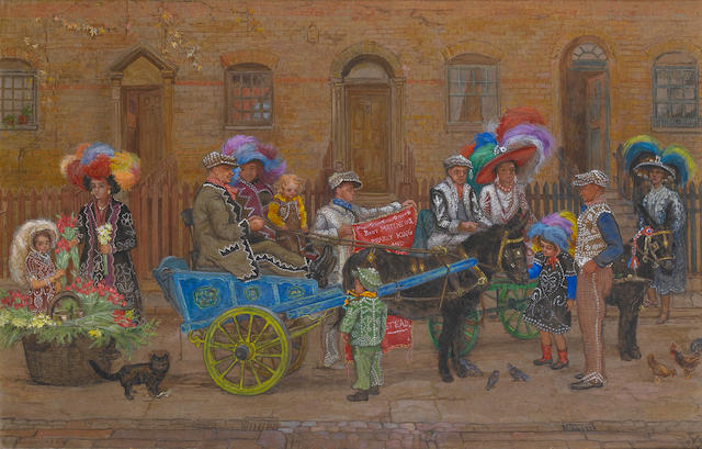 Estella Canziani (British, 1887-1964) Birds of a feather: Costers in gala dress in the Old Kent Road with a donkey and cart unframed