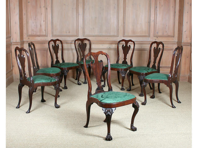 A fine set of eight George II mahogany dining chairs, circa 1750 Irish