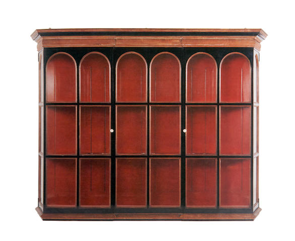 Sir Edwin Lutyens (1869-1944), attributed, commissioned for Lambay Castle An important mahogany and lacquer wall display cabinet