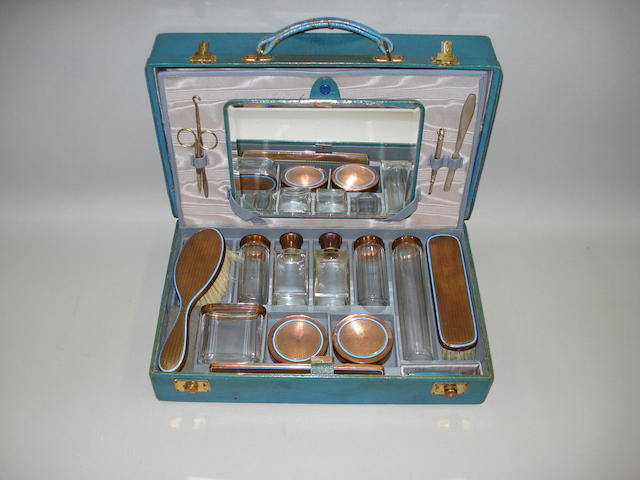 A travelling vanity case,