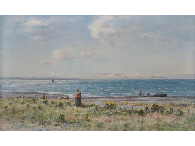 Joseph Henderson, RSW (British, 1832-1908) Fisherfolk on the coast 44x74cm