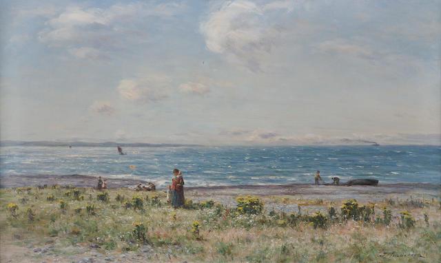 Joseph Henderson, RSW (British, 1832-1908) Fisherfolk on the coast 44x74cm