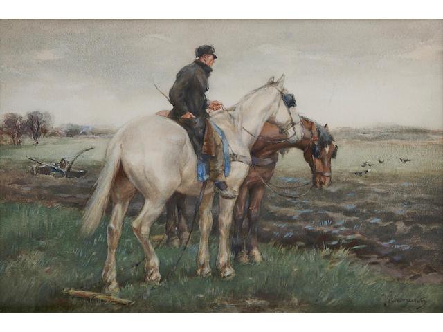 Johan Frederik Cornelis Scherrewitz (Dutch, 1868-1951) The plough team