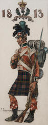 AE Haswell Miller, RSW (British, 1887-1979) A soldier of the 1813 Penisula Campaign Together with another military study 'Piper to the Laird of Grant,' and with an unframed study 'Dance of Death' (3)
