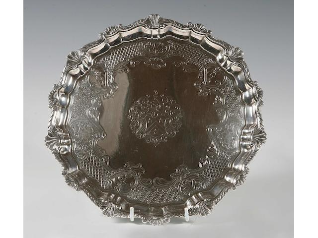 A mid 18th century Channel Island silver salver maker's mark struck once with additional marks of a heart and a coronet, by Guillaume Henry, Guernsey, circa 1750-60,