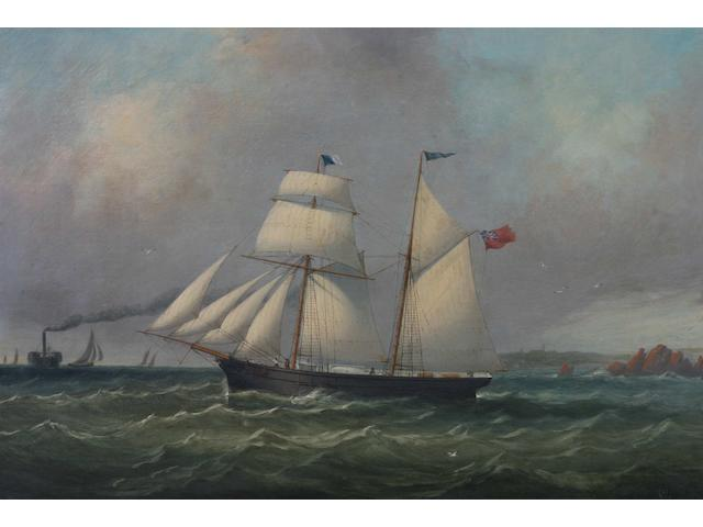 Philip John Ouless (Jersey, 1817-1885) The Jersey Schooner 'Dispatch' passing St. Helier harbour, a paddle steamer in the distance, 43.5 x 64cm.