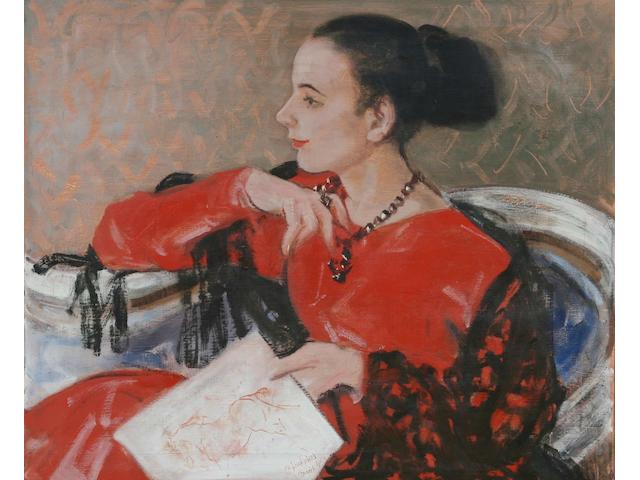 Edmund Blampied (Jersey, 1886-1966) Portrait of Patricia, seated in a chair holding in her left hand a sketch of a horse, 49 x 60cm.