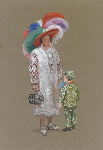 Estella Canziani (British, 1887-1964) Pearly Queen and boy unframed