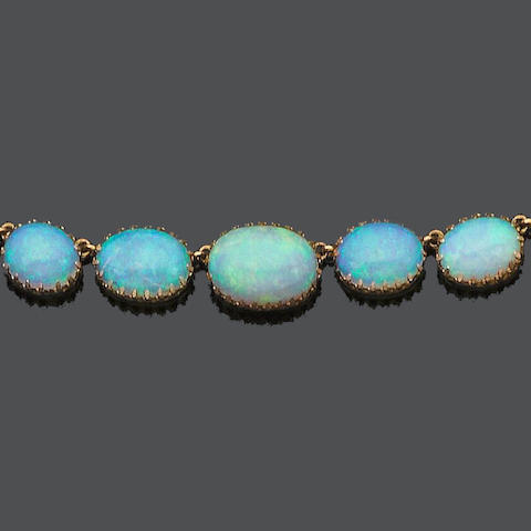 An opal necklace,