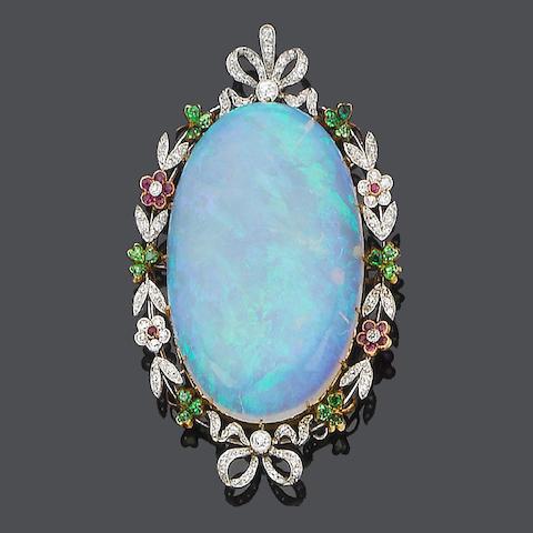 An opal, demantoid garnet, ruby and diamond pendant,