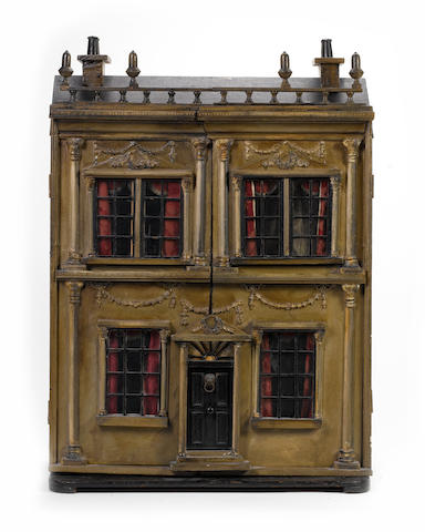 Painted wooden dolls house, English circa 1850