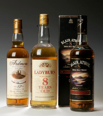 Ardmore Centenary-12 year old-1986Blair Athol-8 year oldLadyburn-8 year old