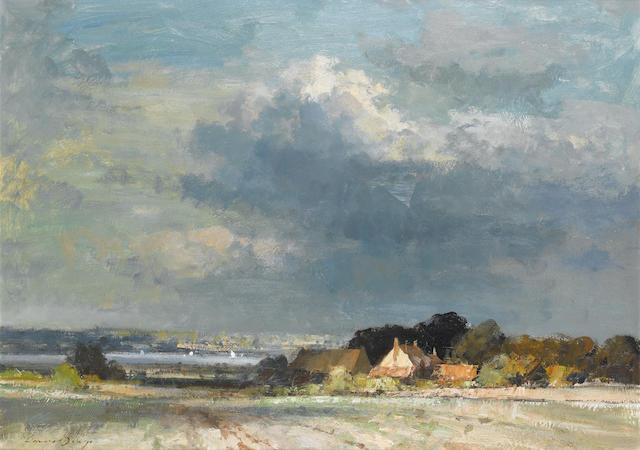 Edward Seago R.B.A., R.W.S. (British, 1910-1974) The River Orwell near Shotley Point, Suffolk 64.8 x 90.2 (25 1/2 x 35 1/2 in.)