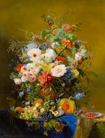 Gabriel Henriques de Castro (Dutch, 1808-1853) A still life of peonies, roses, poppies, tulips and other flowers with mixed fruits on a marble ledge with a blue cloth