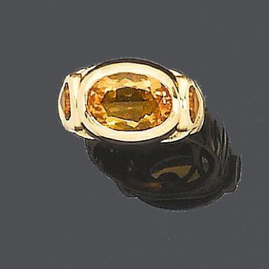 A citrine, onyx and diamond 'Nade' ring, by Marina B