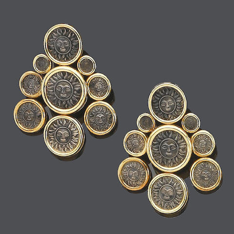 A pair of 'Donetella' earclips, by Marina B