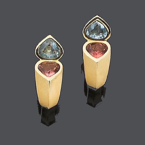 A pair of tourmaline and topaz earclips, by Marina B