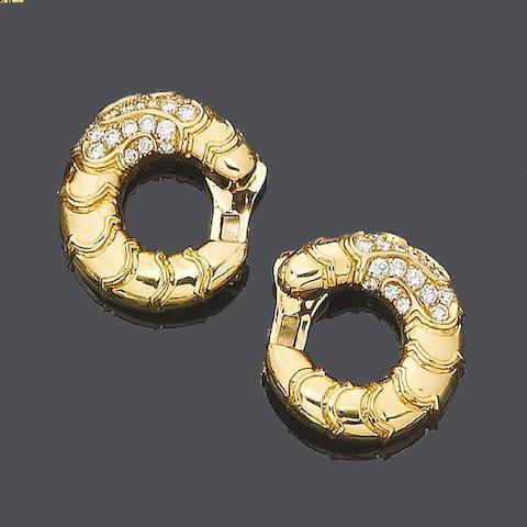 A pair of diamond 'Onda' earclips, by Marina B