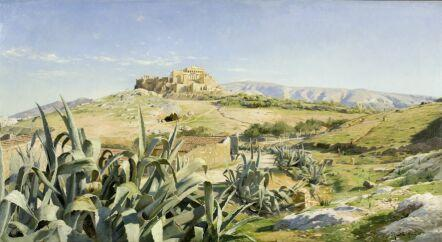 Peder Mork Monsted (Danish, 1859-1941) View of the Acropolis from the Observatory, Athens 72 x 131 cm.