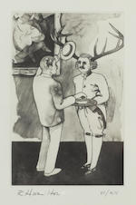 Richard Hamilton (British, born 1922) 'Ireland a Nation' (Waddington 146-166) the complete suite of 20 mixed method intaglio prints, 1990, 'Private Carr', 'One corned and cabbage', 'With unfeigned regret', 'Tame essence of Wilde', 'O how the waters come down at Lahore', 'Gogarty', 'Gentlemen of the press', 'A brief libation', 'House of Keys', 'A street cortege', 'Jamie', 'Nora Barnacle', 'Simon Dedalus', 'Garryowen', 'Yes', 'Molly', 'Papli', 'Sandycove', 'Madame Tweedy is in her bath, sir' and 'Ireland a Nation', each signed and numbered 'vi/xii' in pencil, printed by Atelier Crommelynch, Paris, on Hahnemuhle paper, published by Waddington Graphics, London, 840 x 570mm (33 x 22 ½in), framed