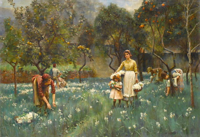 William Logsdail (British, 1859-1944) Picking flowers in an orange grove