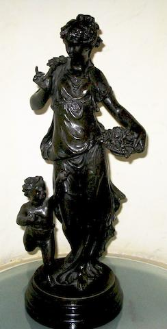 A pair of late 19th / early 20th century French bronzed spelter figures