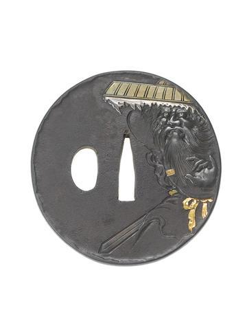 A kinko iron tsuba Meiji Period