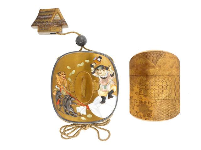 A fine Shibayama-inlaid gold lacquer sheath inro Late 19th century