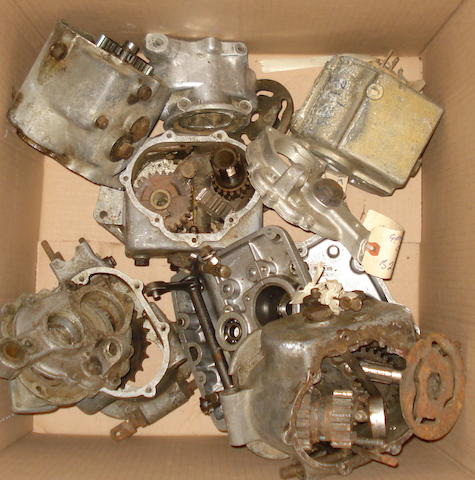 A large assortment of motorcycle gearbox casings,