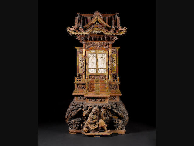 A large and elaborate model of a laquered-wood, ivory and Shibayama-inlaid shrine Meiji Period