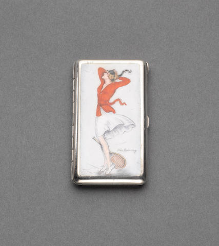 An Egyptian silver and enamelled erotic cigarette case, Cairo 1926, the enamel signed Alla(x) Brünning,